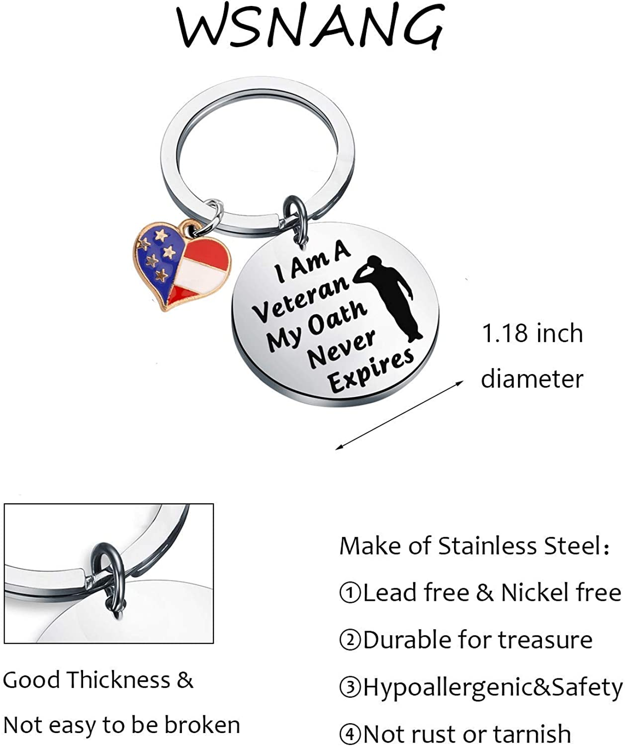 WSNANG Military Veteran Gift I Am A Veteran My Oath Never Expires Keychain USA Flag American Charm Jewelry Navy Army Air Force Army Military Appreciation Gifts