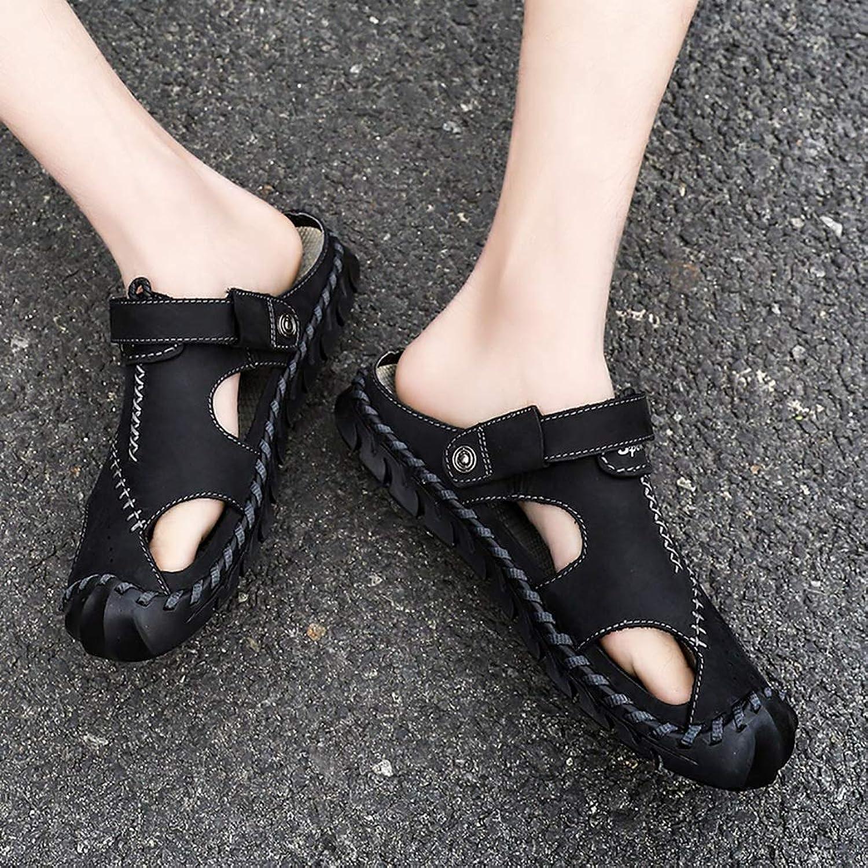 LQ Men's sandals flip flops Leather baotou breathable sandals, rubber non-slip wearable outdoor beach shoes, men's summer buckle sewing shoes (color   Black, Size   8.5 UK)