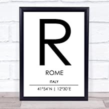 Rome Italy Coordinates World City Travel Quote Wall Art Print