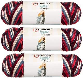 Caron (3 Pack Simply Soft Stripes 100% Acrylic Soft Golden Gate Bridge Reddish Orange Blue White Maroon Yarn for Knitting Crocheting Medium #4
