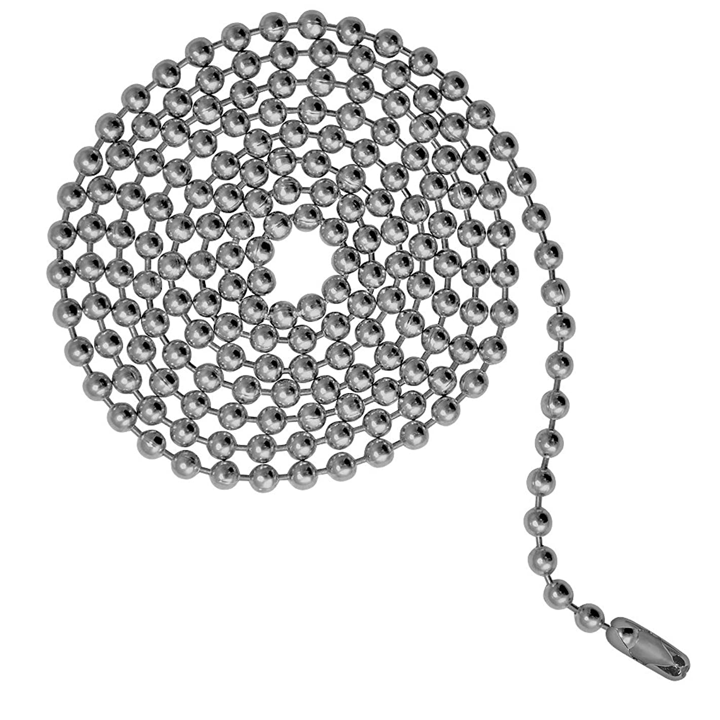Ball Chain 3 Foot Length, Number 6 Size, Stainless Steel, with Matching Connectors (3 Pack)