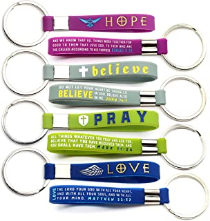 (12-Pack) Christian Inspirational Bible Keychains - Hope, Believe, Pray, Love - Wholesale Bulk Religious Keyrings - Church...