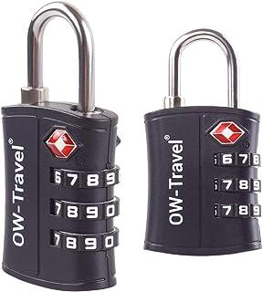 ? Candado TSA Combinacion Antirobo Maleta - Alta Seguridad Combinación 3 Digitos. Cerradura para Funda Maletas de Viaje, Caja Herramientas, Taquillas Vestuario, Locker : Candados Numerico Negro 2