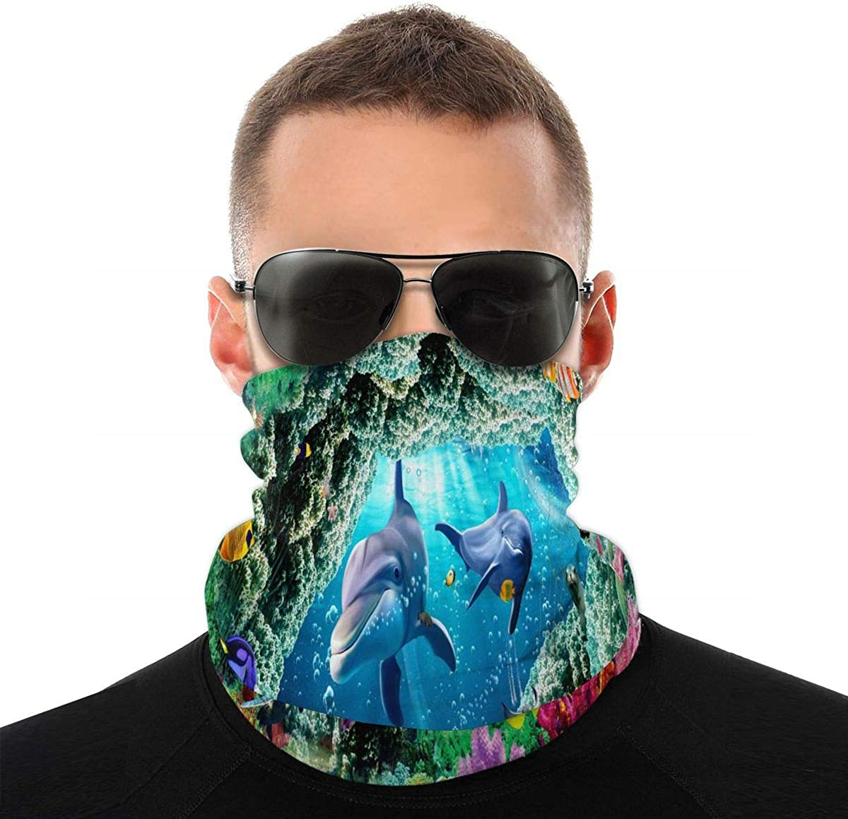 KiuLoam Underwater World Cute Dolphins Seamless Face Mask Bandanas Neck Gaiter for Men and Women, Multifunction Headband Scarf for Dust, Outdoors, Sports