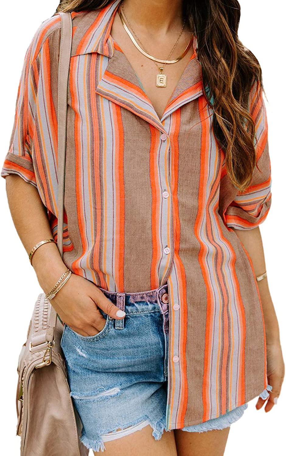 Dokotoo Womens Striped Short Sleeve Blouses Button Turn-Down Collar Shirts Loose Tops