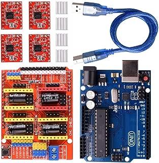 CNC Shield Expansion Board V3.0 +UNO R3 Board + A4988 Stepper Motor Driver with Heatsink for Arduino