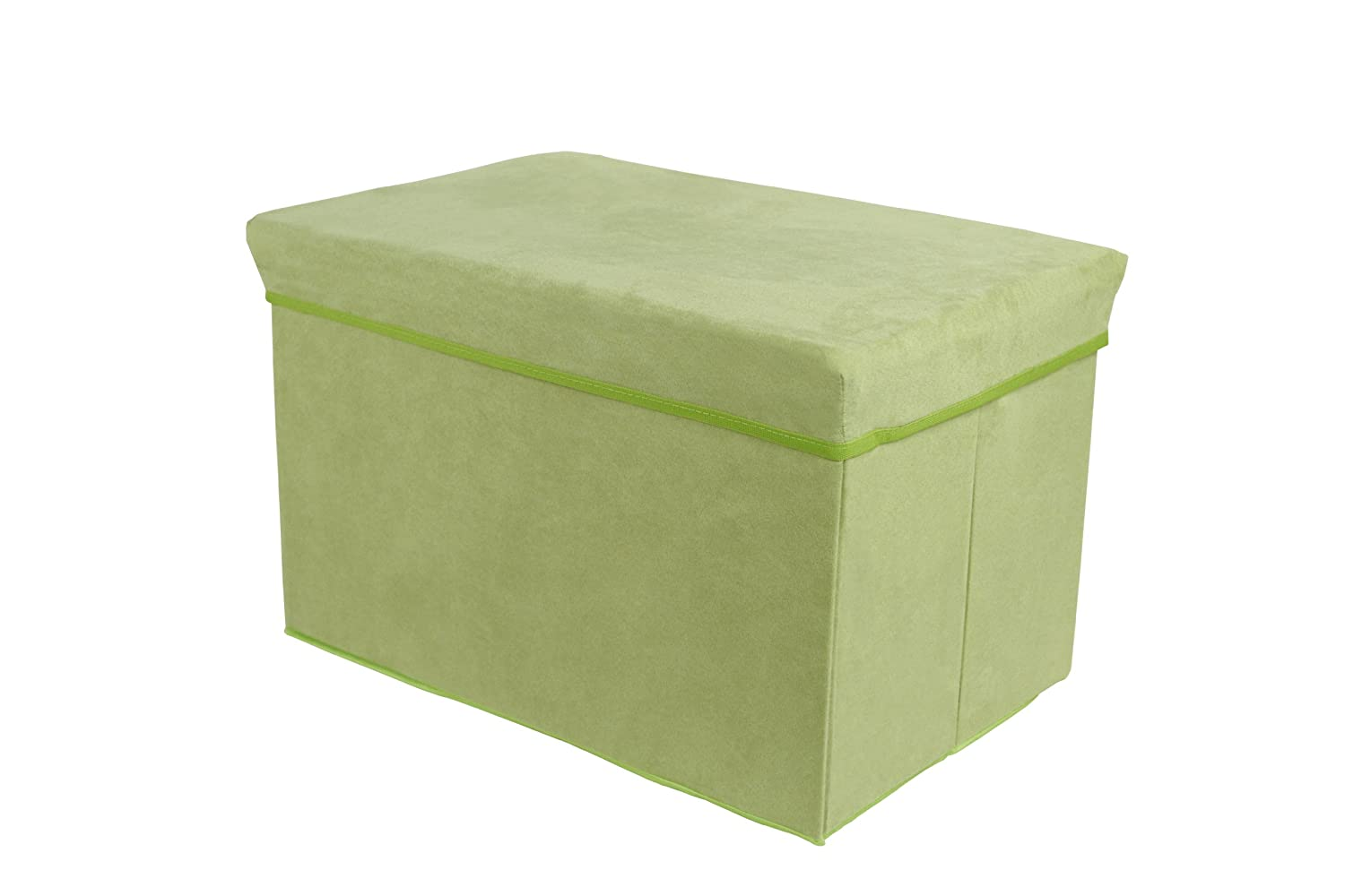 Tadpoles Rectangle Shaped Suede Storage Box Stool, Green