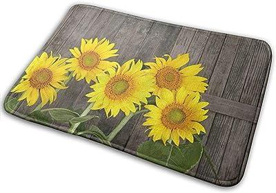 Rustic Woodern Sunflower Front Door Mat Welcome Indoor Outdoor Rug Rubber Non Slip Backing Bathroom Kitchen Decor Area Funny Doormat