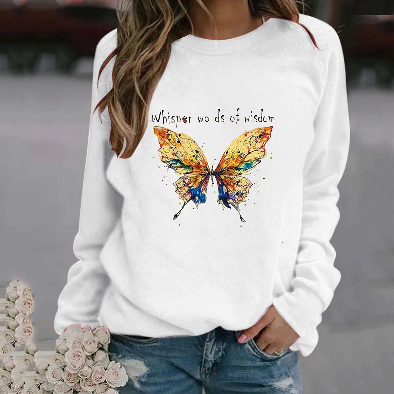 UOCUFY Womens Sweatshirts Pullover, Womens Long Sleeve Tunic Tops Sweatshirt Loose Soft Casual Crewneck Blouse Shirts