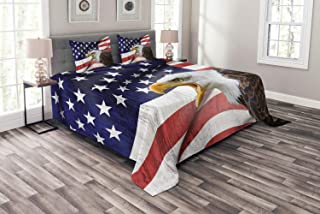 Ambesonne American Flag Bedspread, Eagle on Foreground Banner Pride History Solidarity Martial Identity, Decorative Quilted 3 Piece Coverlet Set with 2 Pillow Shams, Queen Size, Red Blue