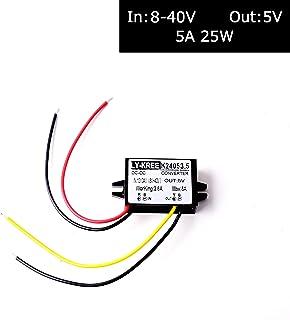 DC 12v 24v to 5v Step Down Converter Regulator 5A 25W Power Adapter Reducer for Car Electronics Truck Vehicle Boat Solar S...