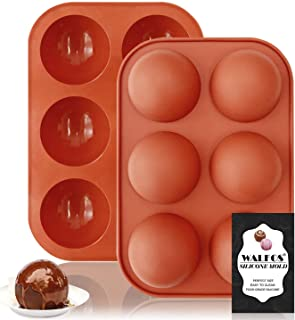 Walfos Moule en silicone demi-sphère moyenne, 2 paquets de moules de cuisson en silicone demi-sphère pour la fabrication d...
