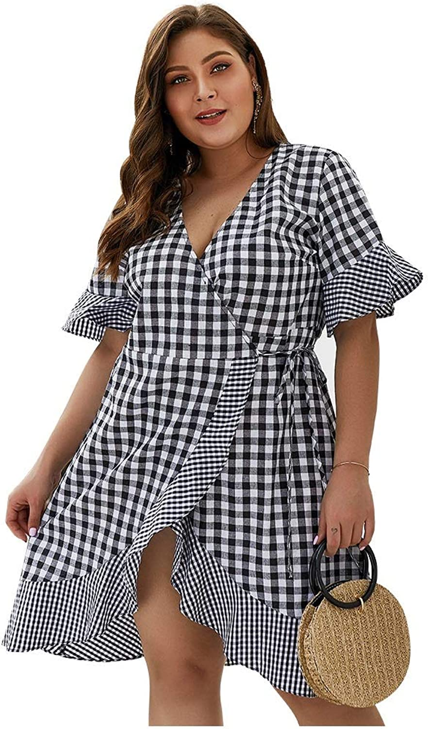 CARRY Dress, European and American Summer Big Swing Cocktail Comfortable Soft Women's VNeck Plaid FivePoint Sleeve Ruffled Dress (Size   4XL)