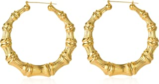 Large Bamboo Hoop Earring Hollow Casting Hip-Hop Statement Jewelry for Women Goldtone Silvertone