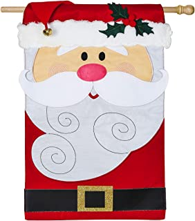 Evergreen Santa Claus Outdoor Safe Double-Sided Applique House Flag, 28 x 44 inches