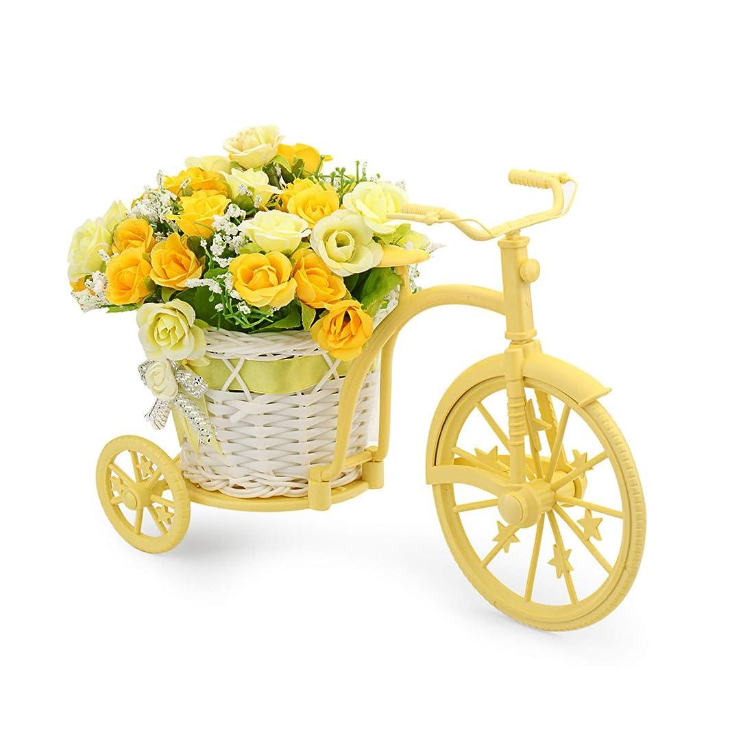 スクラブ地上の不正CN-Culture ノスタルジック 自転車 造花 装飾 植物 スタンド (イエロー)