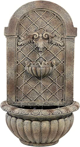 2021 Sunnydaze Venetian Solar with Battery Backup Outdoor Wall Mounted Water Fountain outlet sale - online Outdoor Water Feature with Rechargeable Solar Battery - Florentine Stone - 28-Inch sale