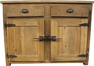 Meubletmoi Kühlschrank mit 2 Schubladen, Retro, Kiefer massiv, recycelt – Stil Landhaus Rustikal Vintage – Kollektion Errichtet