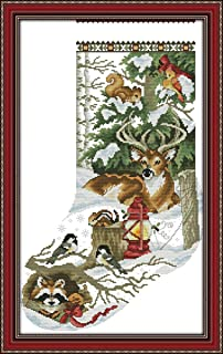 YEESAM ART New Cross Stitch Kits Advanced Patterns for Beginners Kids Adults - Christmas Stockings Deer Birds Animals - DIY Needlework Wedding Christmas Gifts (Animals, White)