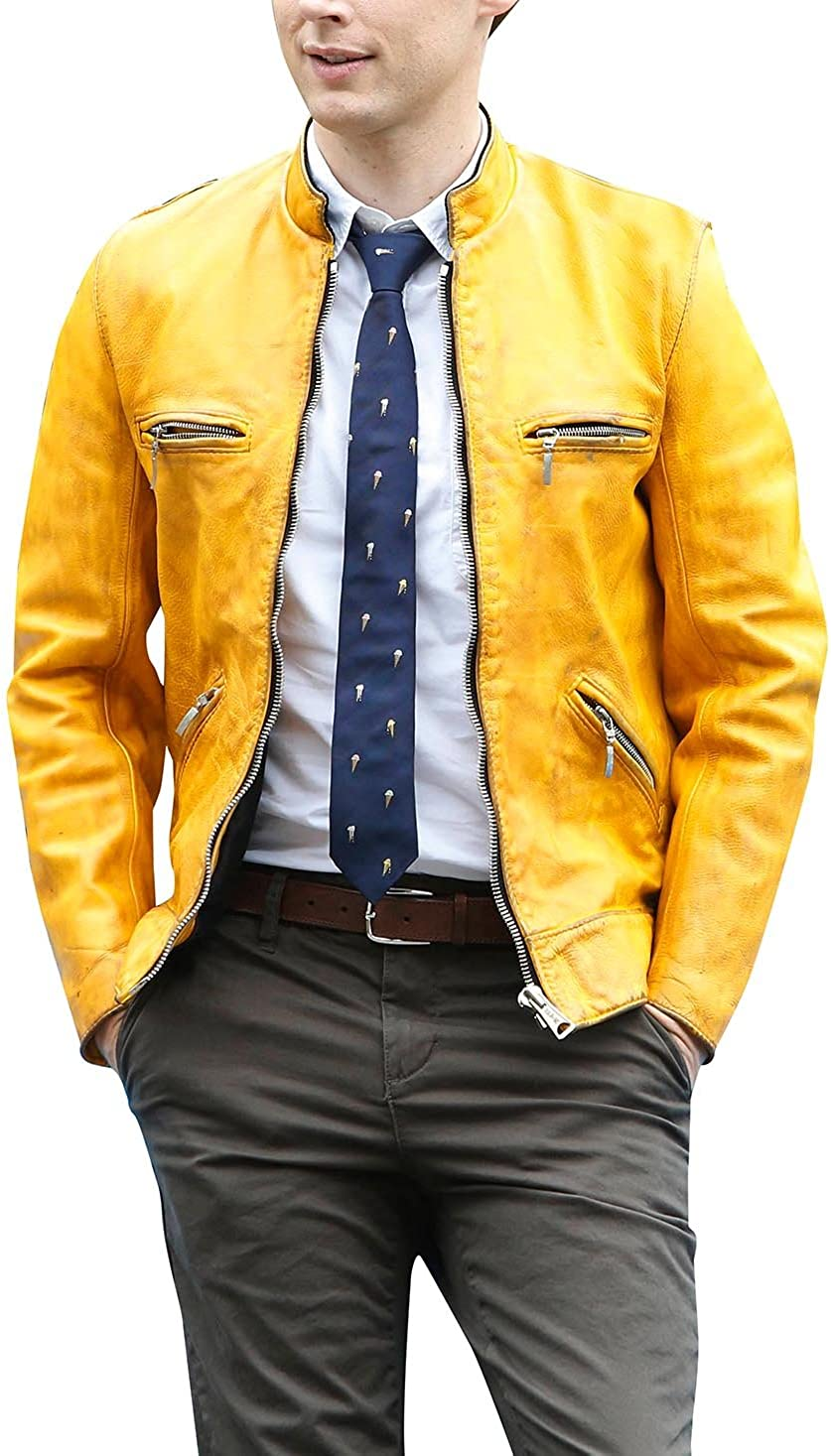 Spazeup Dirk Detective Yellow Leather Gentlys Agency Jacket