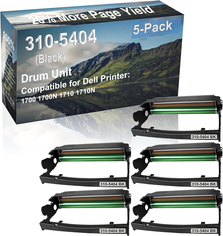 5-Pack Compatible 310-5404 Drum Kit use for Dell 1700 1700N 1710 1710N Printer (Black)