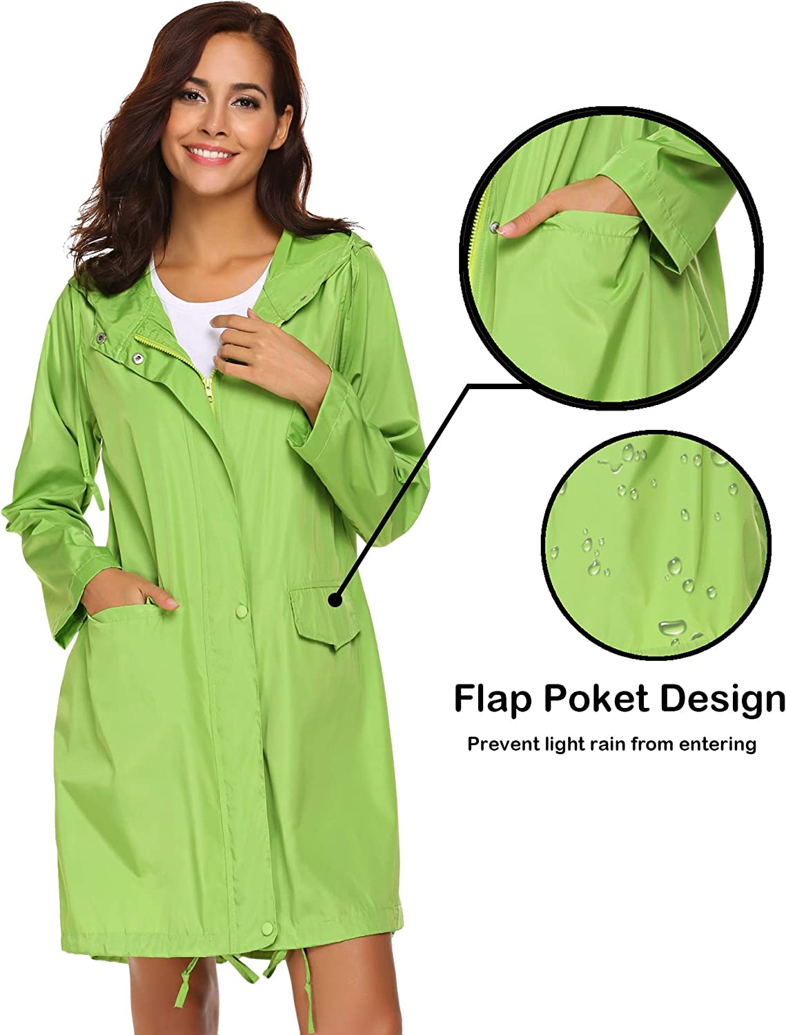 SoTeer Rain Coat Women Long Rain Jacket Lightweight Hooded Waterproof Active Outdoor Rain Jacket Windbreaker S-XXL
