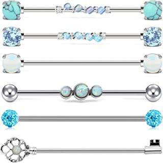 Industrial Barbell 14G Cartilage Earrings Surgical Stainless Steel Scaffold Piercings Arrow Turquoise Industrial Piercing Jewelry Bar 38mm 35mm for Women Men