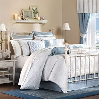 Harbor House Crystal Beach Queen Size Bed Comforter Set - Pale Blue, Quilted Coastal Seashells – 4 Pieces Bedding Sets – 100% Cotton Bedroom Comforters