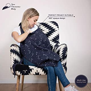 Cotton Muslin Nursing Cover – Large Breastfeeding Cover with Built-in Burp Cloth & Pocket – Soft, Breathable, Chemical-Free, 360° Coverage, Multiuse Nursing Cover by San Francisco Baby - Black