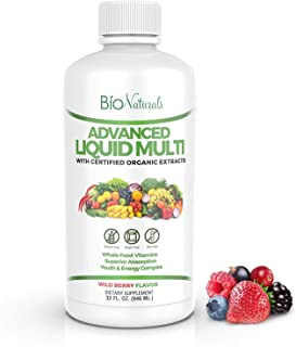 Bio Naturals Liquid Multivitamin for Men & Women with 200 Nutrients - Immune Support - Vitamins A B C D3 E, Zinc, Minerals...