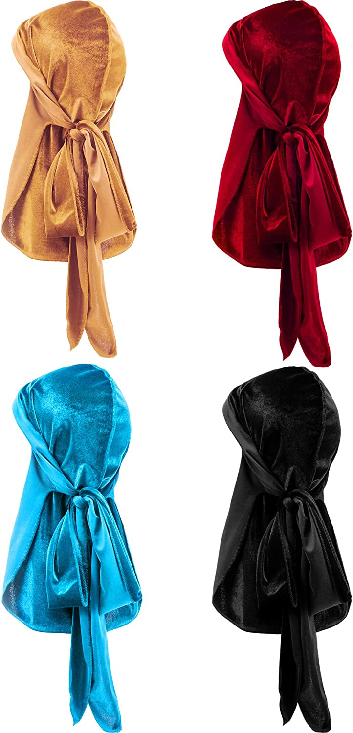 Tatuo 4 Pieces Men's Velvet Durag with Long Tail Soft Durag Head