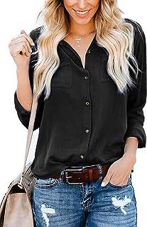 Donna Camicie e Camicette Ladies Casuale Tops 3//4 Bell Maniche Campana Svasata Moda Girocollo Allacciatura Anteriore Bottoni Arricciati Femminili Eleganti Signore