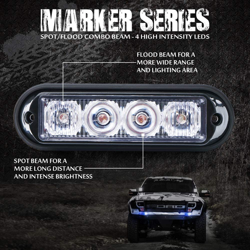 Xprite White /& Blue 4 LED 4 Watt Emergency Vehicle Waterproof Surface Mount Deck Dash Grille Strobe Light Warning Police Light Head with Clear Lens