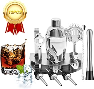 Cocktail Shaker Set, Bsyexcellent 12 Piece Bartender Kit Bar Tool with Bar Accessories, Stand, Stainless Steel Martini Mix...