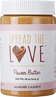 Spread The Love Almond Cashew Power Butter, 16 Ounce (All Natural, Vegan, Gluten-free, No salt, No sugar, No palm-oil, No-...