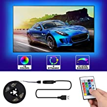 LED Strip Lights 6.56FT/2M TV LED Backlight 16 Colors and 4 Modes Bias Lighting TV Backlight Kit with Remote USB Powered Strip Lighting for 40-60 in HDTV/PC, Monitor,Home, Party