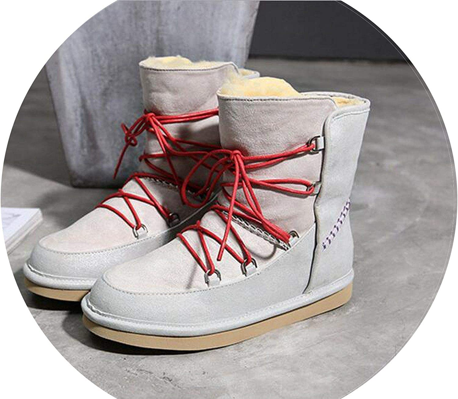 Summer-lavender Women Winter Boots Genuine Leather Snow Boots Ankle Boots Warm Fur shoes Woman Flats Round Toe Boots