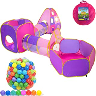 Playz Toddler Girl Popup Tent, Tunnel, and Ball Pit with 500 Balls Bundle