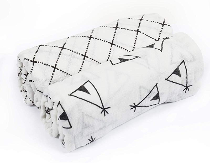Baby Swaddle Blanket Upsimples Unisex Swaddle Wrap Soft Silky Bamboo Muslin Swaddle Blankets Neutral Receiving Blanket For Boys And Girls Large 47 X 47 Inches Set Of 2 Tent Crisscross