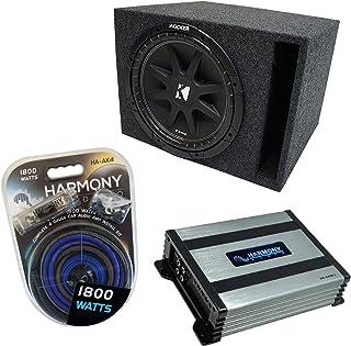 "$219 » Universal Car Stereo Vented Port Single 12"" Kicker Bundle Comp C12 Loaded Sub Box Bundle with Harmony HA-A400.1 Amp & Inst..."