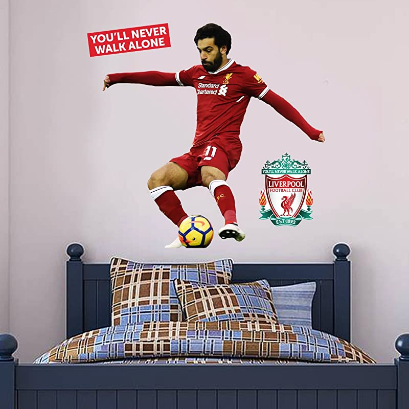 Official Liverpool FC Mo Salah Shooting Player Decal LFC Wall Sticker Set Print Mural Vinyl Decal 175cm Height