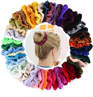 DazSpirit 50Pcs Hair Scrunchies Velvet, 50 Colors Hair Scrunchies Ponytail Holder Bands with Storage Bag Vsco Visco Girl Stuff Hair Accessories Scrunchies