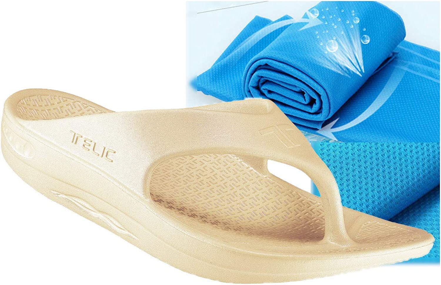 Telic Unisex ArchSupport FlipFlops and Bob Sports Towel-Voted Best Comfort shoes