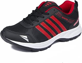 Asian Shoes Unisex-Child Black & Red Sports Shoes -5 Kids UK