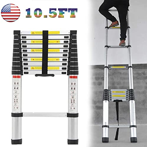 lowest Extension lowest Ladder 10.5ft Aluminum Climb Telescoping Ladder 330lb Capacity Lightweight for online sale Home Use Roof RV, 2 Year Warranty online sale