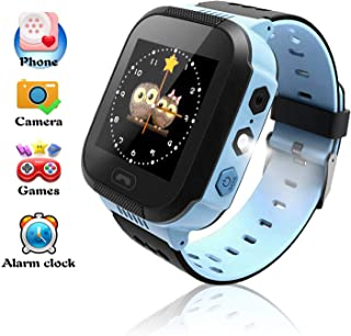 Smart Watches, Watches for Kids with GPS, Children Tracker Watches Feature Real Time Positioning/SOS Emergency Alarm/Voice Messages, Kids Wrist Watches, The Best Birthday Gifts Ever(Blue)