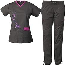 Medgear Women's Stretch Scrubs with Embroidery Scrubs Set Medical Uniform