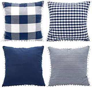 HOPLEE Farmhouse Pillow Covers 16x16 Navy Blue Pillow Cover with Cute Pom Pom Buffalo Plaid Tricking Stripe and Gingham Pl...
