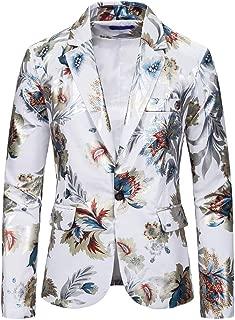 Mens Slim Fit Floral Printed Button Suit Turn-Down Party Club Blazer Jacket Coat
