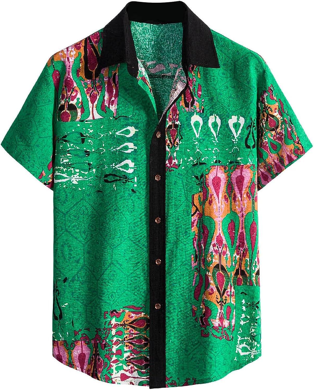 Vintage Shirts for Men Short Sleeve Hawaiian Shirt Summer Button Down T Shirt Relaxed-Fit Casual Beach Tops